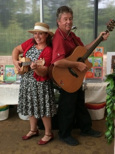 Carol Dabney and Rod Ragsdale having fun playing music for children
