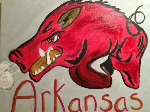 My Razorback Arkansas watercolor (Sold)