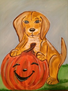 My pup and pumpkin watercolor painting